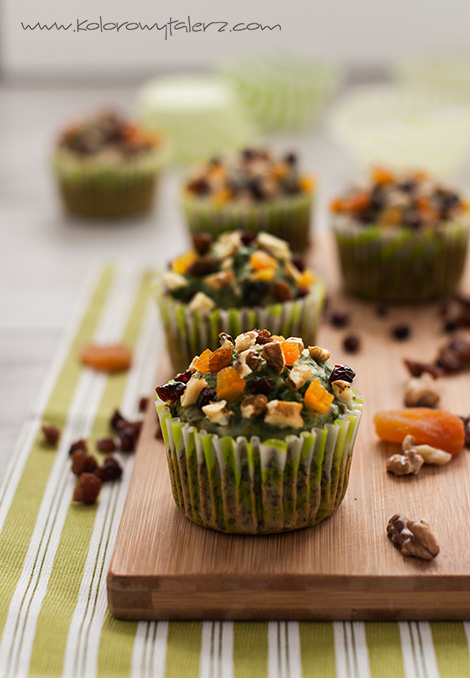zielone muffiny zbakaliami