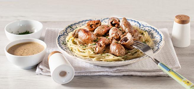 jesienne spaghetti z miniroladkami